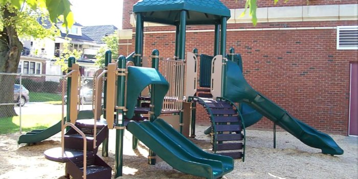 Photo of play structure with several slides and climbers.
