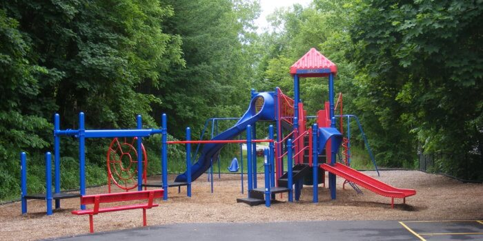 Photo of play equipment surrounded by trees