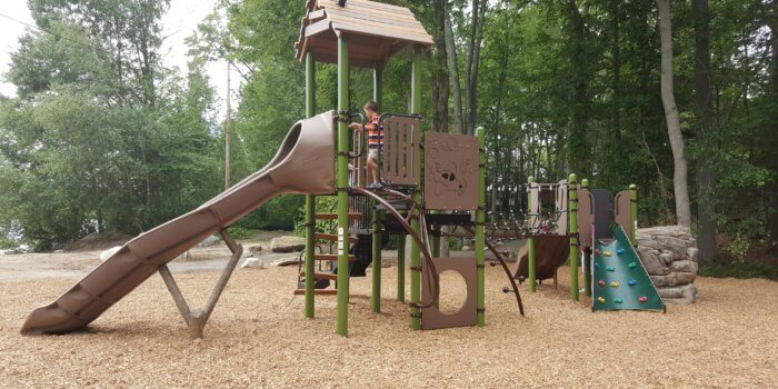 Photo of a playground with multiple connected decks and many nature-inspired elements such as rock climbers and log supports