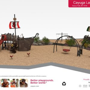 Rendered drawing of proposed playground with swings and playstructures shaped like ships