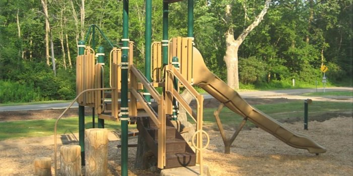 Photo of playground with slide, climbers, and treehouse roof.