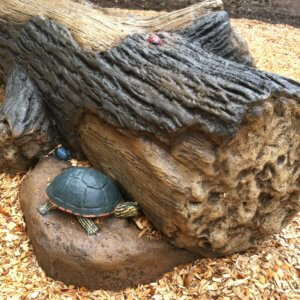 Photo of a log shaped seat with a concrete turtle.