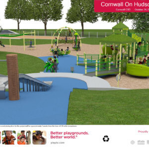 3D rendering of proposed site and play equipment