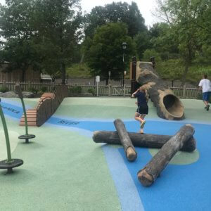 Photo of a climbing dock, log shaped balance beam, cattail shaped spinners, and a slide made to look like a hollow tree.