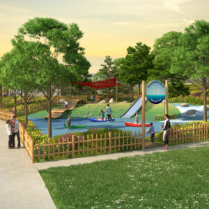 Rendered drawing of the proposed playground featuring custom canoes, a slide, and a dock climbing structure.