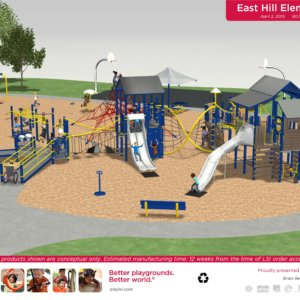 Rendered drawing of the playground proposed for East Hill Elementary