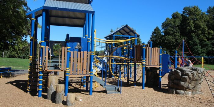 Photo of play structures connected by bridges and rope nets, featuring nature inspired components like wood boards, log steppers, and a boulder shaped climber