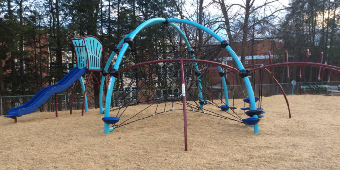 Photo of playground with slide, ladders, and climbing net.