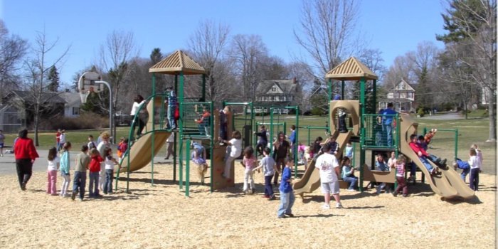 Photo of playground with slides, climbers, decks, and overhead play components.