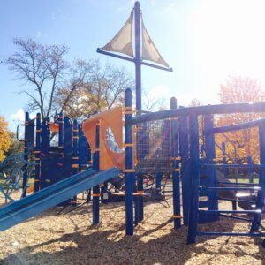 View of custom sail-topped play structure