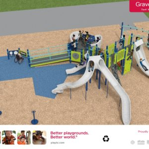 Rendered drawing of the proposed new playground