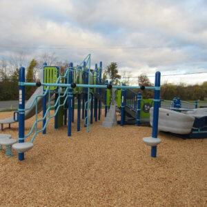 Photo of a play structure with numerous decks, slides, and attached climbing components, as well as a large glider