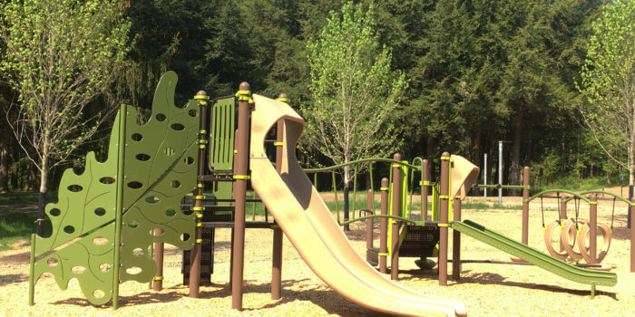 Photo of a nature-inspired play structure with decks, slides, and leaf-shaped climbers
