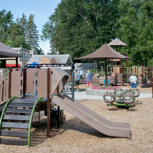 Photo of the play structure for ages 2-5, with other independent components and structures visible behind