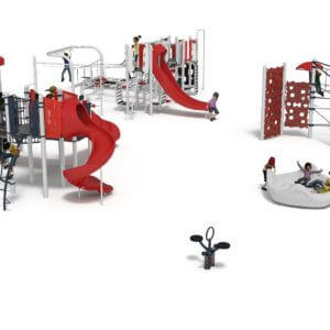Rendered drawing of the proposed play equipment