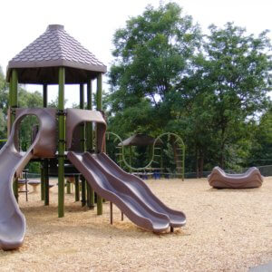 View of a play structure with two slides, and other components in the background