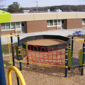 View of a Gaga Ball Pit, a round enclosure for activities