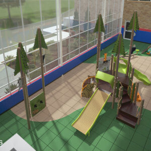 3D rendering of interior view of the playground