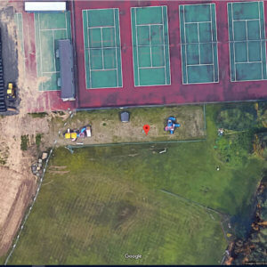 Aerial view of the playground site prior to installation