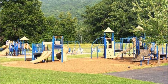 Photo of playground with multiple play structures, featuring climbers, slides, and swings.