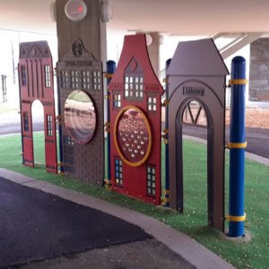 Photo of play panels under the school