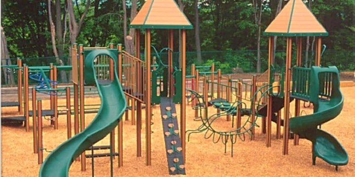 Photo of playground with slides, bridges, and climbers.