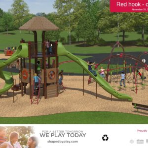 Rendered drawing of the proposed play areas