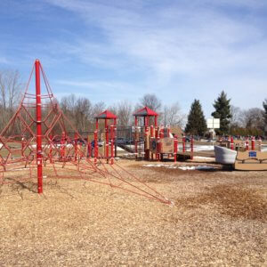Photo of rope climbing structure with Sway-Fun and playground structure behind