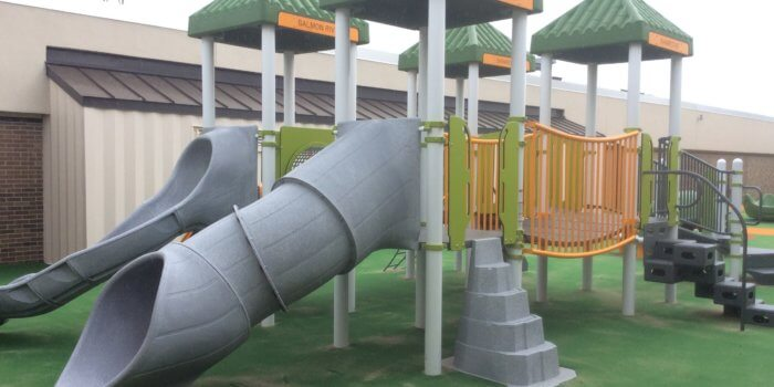 Photo of play equipment in a courtyard