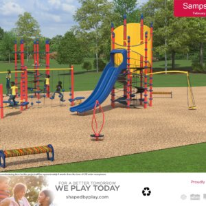 Rendered 3D view of a playground