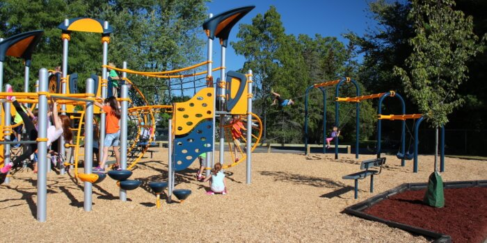 Photo of a large playground with climbing walls, rope bridges, and swings.