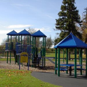 Photo of playground with swings, slides, climbers, and a covered picnic table.