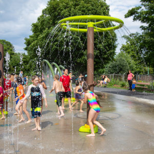 Photo of children playing in the spray park.