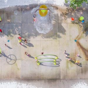 Aerial view of spray park.