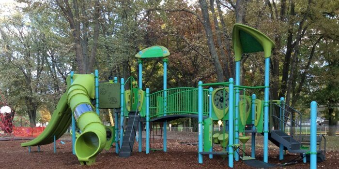 Photo of playground with multiple slides, decks, and climbers.