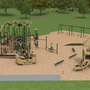 3D rendering of the overall playground site, featuring swings and multiple structures